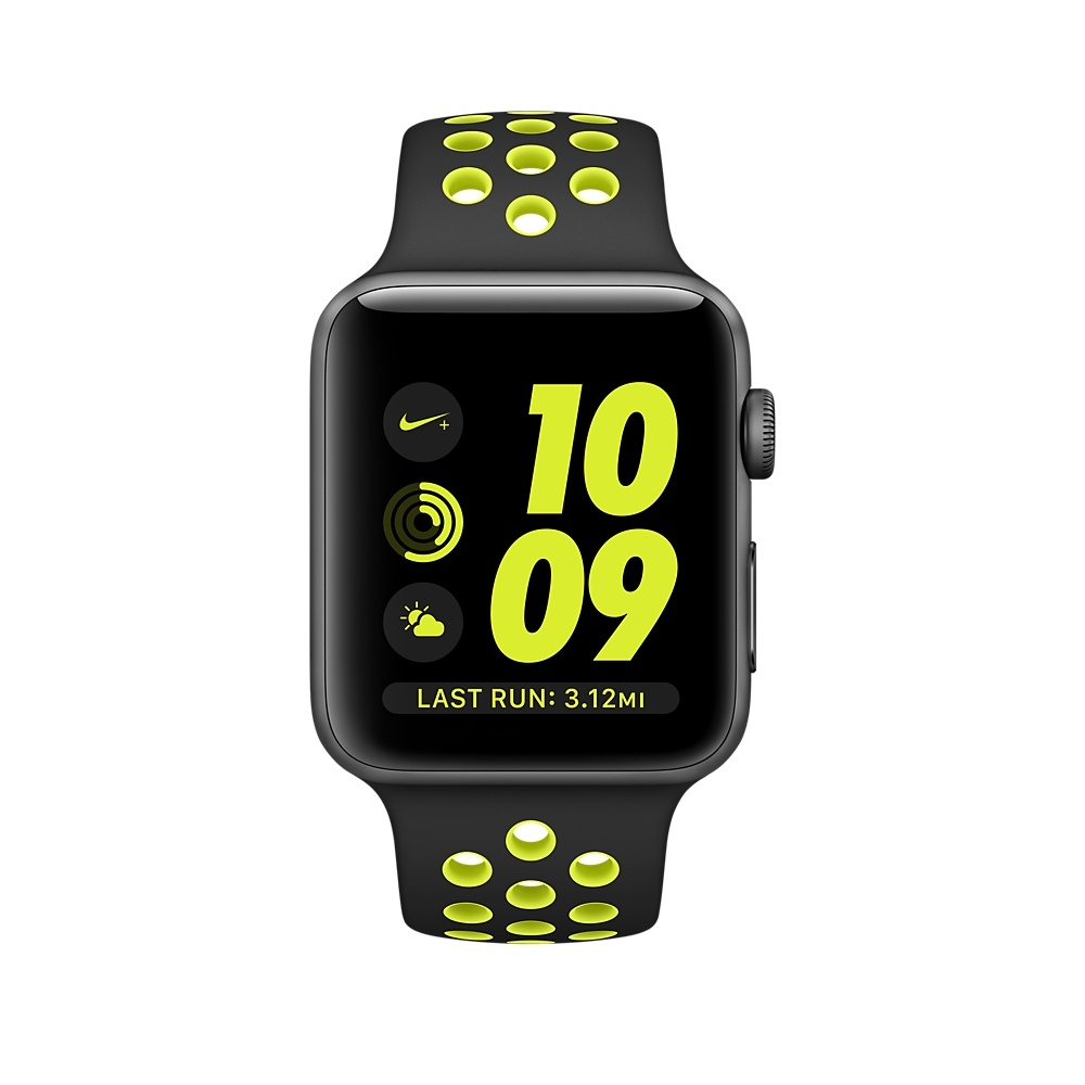 Apple Watch Nike+, 42 mm Space Gray Aluminum Case with Black/Volt Nike Sport Band MP0A2 - 1