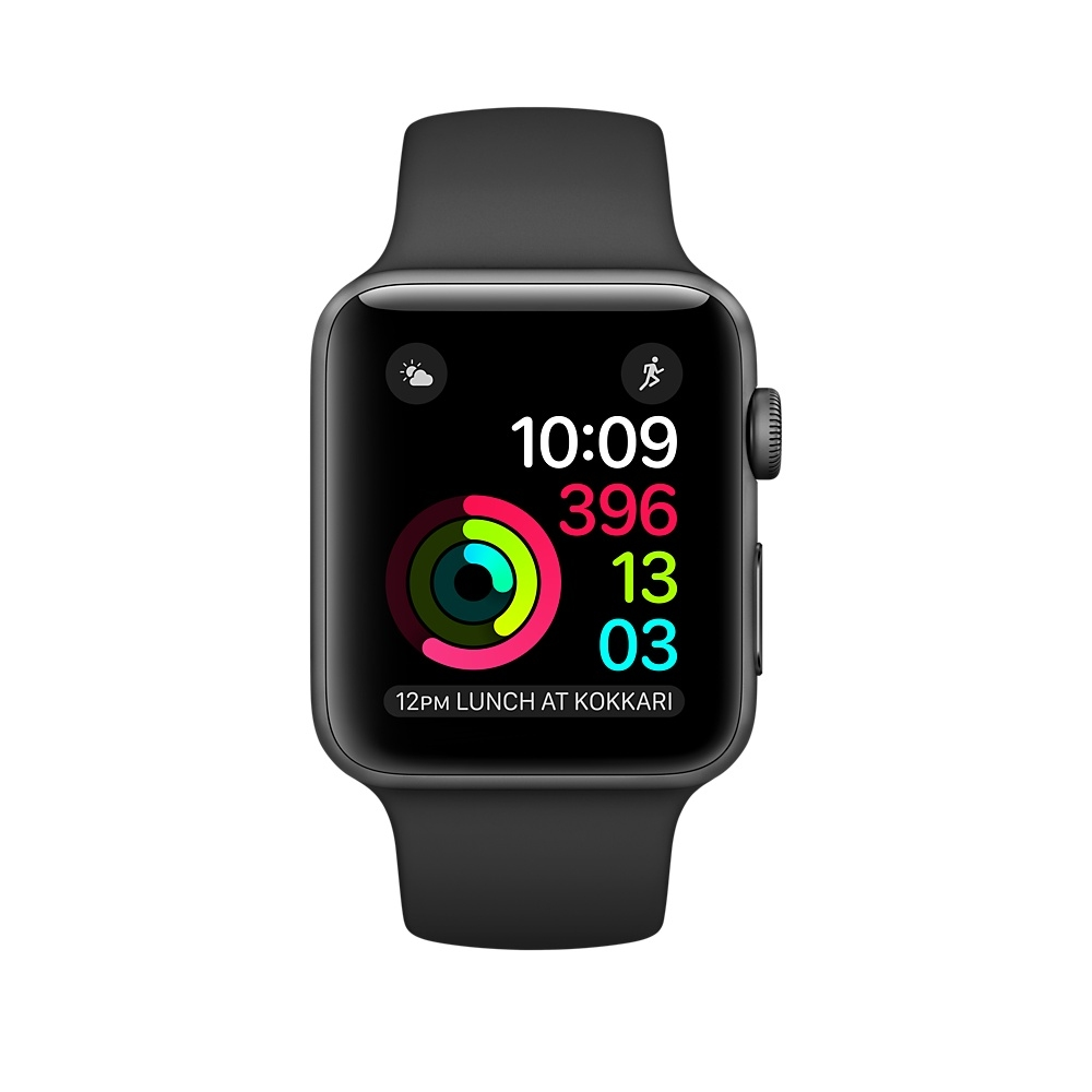 Apple Watch, 38 mm Space Gray Aluminum Case with Black Sport Band MP0D2 - 1