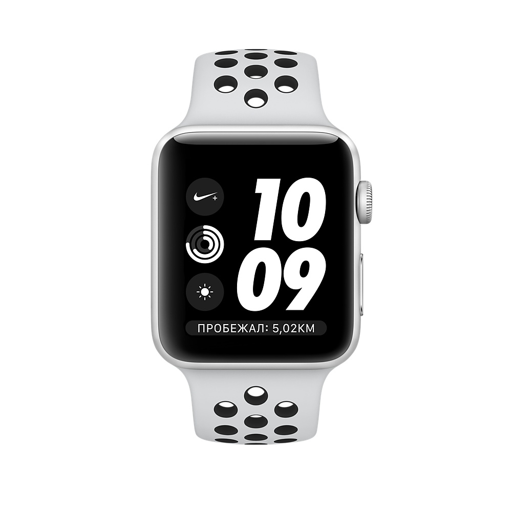 Apple Watch Nike+ Series 3 (GPS) 42mm Silver Aluminum Case with Pure Platinum/Black Nike Sport Band MQL32 - 1