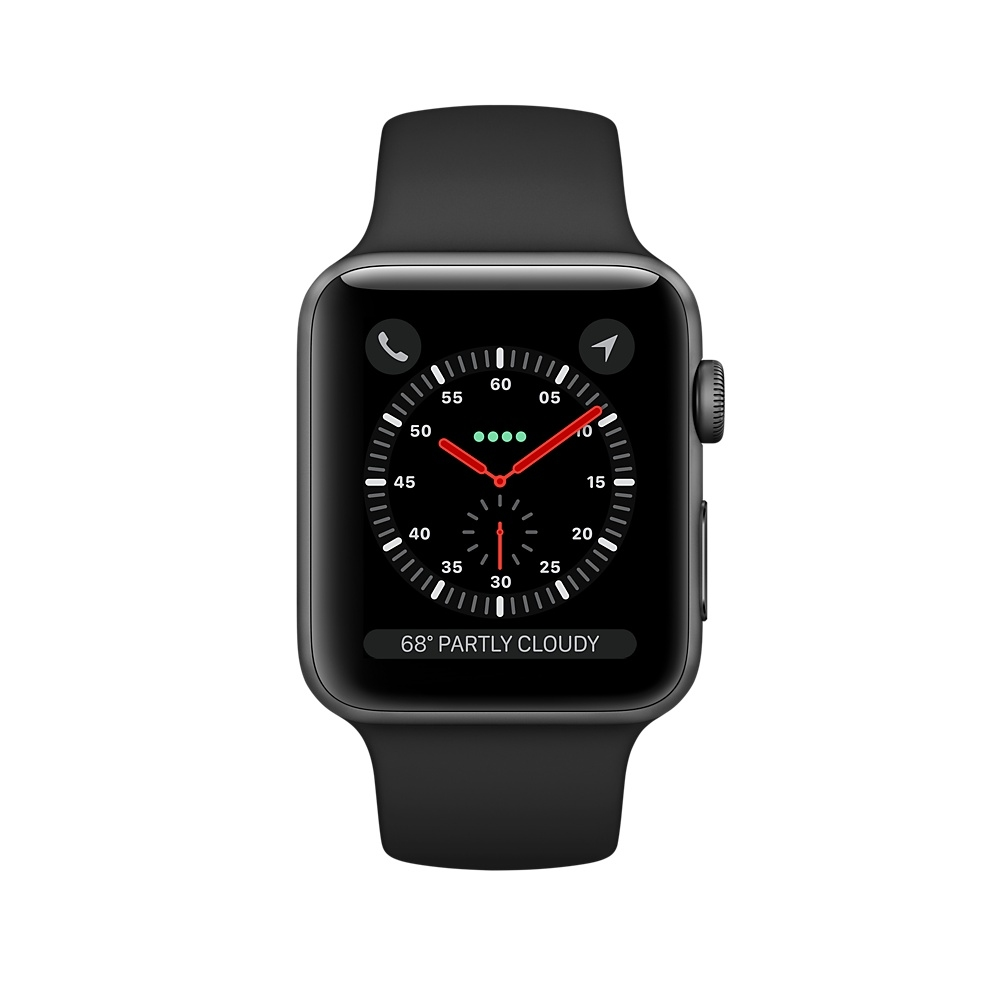 Apple Watch (GPS) 38mm Space Gray Aluminum Case with Black Sport Band MQKV2 - 1