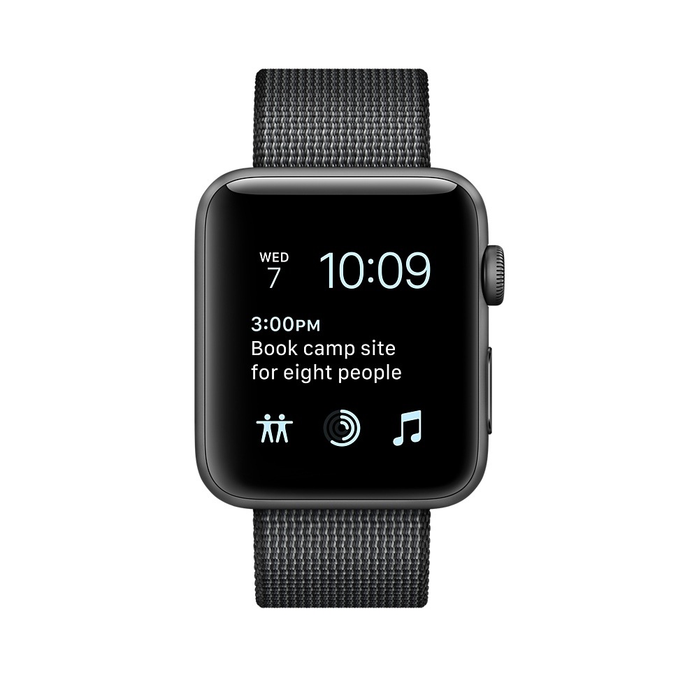 Apple Watch, 42 mm Space Gray Aluminum Case with Black Woven Nylon MP072 - 1