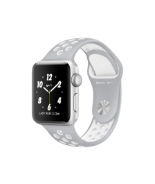 Apple Watch Nike+, 38 mm Silver Aluminum Case with Flat Silver/White Nike Sport Band MNNQ2